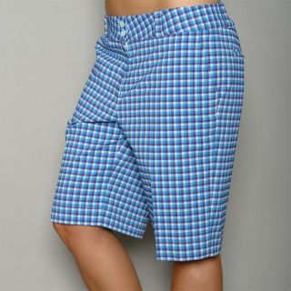 Nike Golf Womens Dri Fit Blue Check Golf Shorts