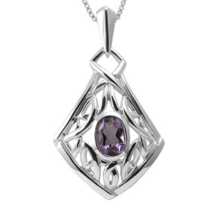 Sterling Silver Amethyst Celtic Knot Necklace (Thailand)