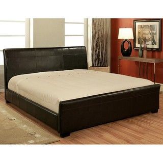 Abbyson Living Monaco Dark Brown Bi cast Leather King size Bed