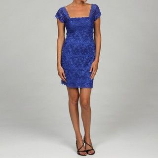 Onyx Nites Womens Royal Sequin Lace Dress