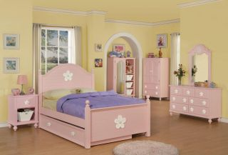 White and Pink Flower Twin size Bed