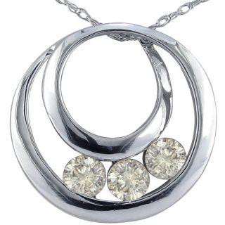 14k White Gold 1/2ct TDW 3 Diamond Circle Necklace (K,I2)