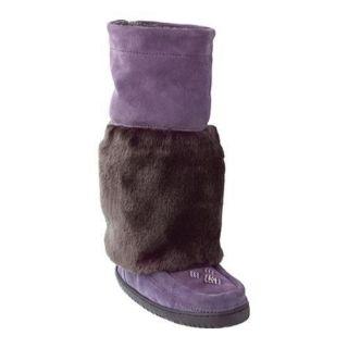 Womens Manitobah Mukluks Kona Faux Fur Muk Purple Cowhide Suede/Faux