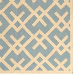 Moroccan Light Blue/ Ivory Dhurrie Wool Rug (10 x 14)