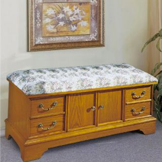Oak Cedar Chest with Floral Upholstered Seat