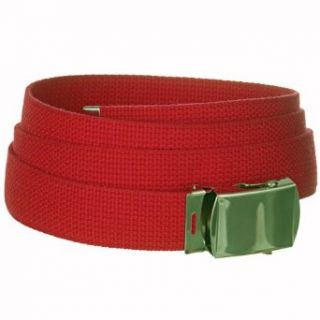 Cherry Red One Size Canvas Military Web Belt With Silver