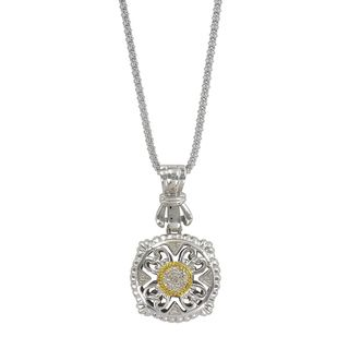 Sunstone Gold plated Sterling Silver Pave Diamond Filigree Cushion
