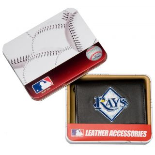 Tampa Bay Rays Mens Black Leather Tri fold Wallet