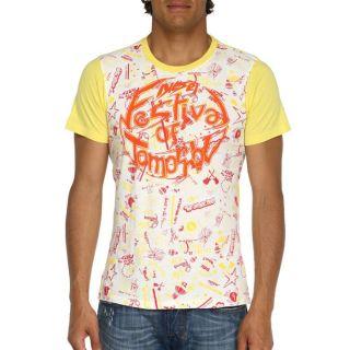 DIESEL T Shirt Homme Blanc et jaune   Achat / Vente T SHIRT DIESEL T