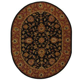 Handmade Heritage Kerman Black/ Peach Wool Rug (46 x 66 Oval