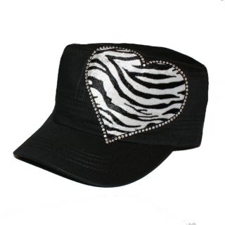 Zebra Womens Rhinestone Black Military Hat
