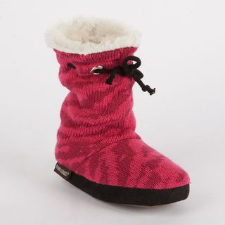 Muk Luks Molly Girls Animal Print Scrunched Tie Slipper Boot