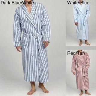 Alexander Del Rossa Mens Classic Cotton Striped Lounge Robe