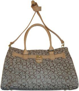 Calvin Klein Purse Handbag Signature Logo Tote Khaki/Brown/Gold Shoes