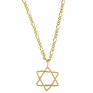 14k Yellow Gold Star of David Rope Design Necklace