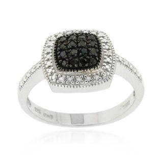DB Designs Sterling Silver 1/5ct TDW Black Diamond Square Ring