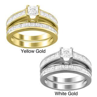 14k Gold 2ct TDW Princess cut Diamond Bridal Ring Set (I J, I1 I2