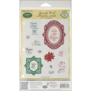 JustRite Stampers Cling Stamp Set Joy To The World Medallion Labels