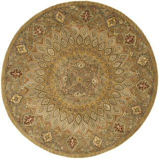 Handmade Heritage Medallion Light Brown/ Grey Wool Rug (36 Round