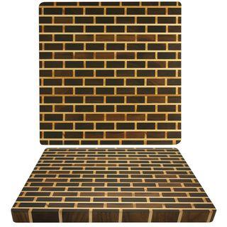 Kobi 1.5 inch Square Brick Wall Walnut Butcher Block Cutting Board