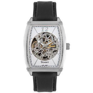 Stauer Mens E248S Automatic Skeleton Black Leather Watch: Watches