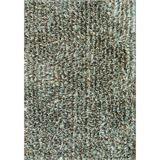Caldera Hand tufted Blue Mocha Shag Rug (79 x 99)