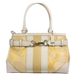 Coach 13338 Hampton Op Art Signature Stripe Carryall Satchel Handbag