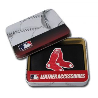 Boston Red Sox Mens Black Leather Tri fold Wallet