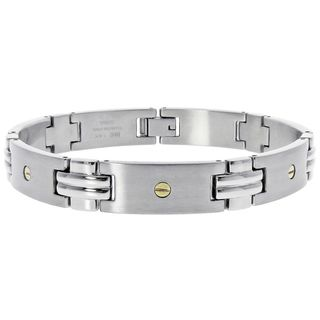 14k Yellow Gold and Stainless Steel Mens Screw Detail Bracelet