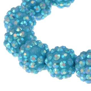 Aqua Blue Crystal Ball Stretch Bracelet
