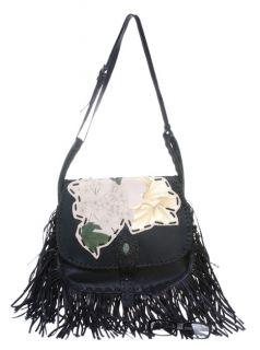 Valentino Womens Black Fringed Handbag