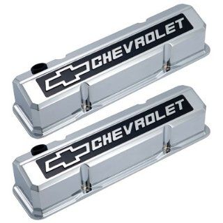 GM 141 922 SB Chevrolet Bowtie Slant Valve Covers Chrome