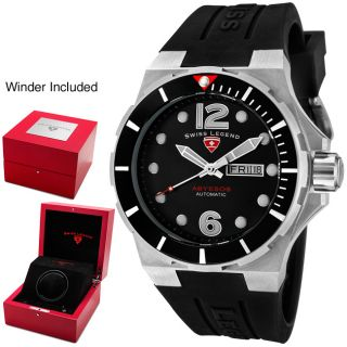 Swiss Legend Mens Abyssos Black Dial Black Silicon Automatic Watch