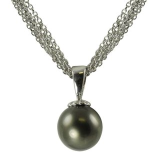 Pearls For You 14k White Gold Tahitian Pearl Drop Necklace (10 11 mm