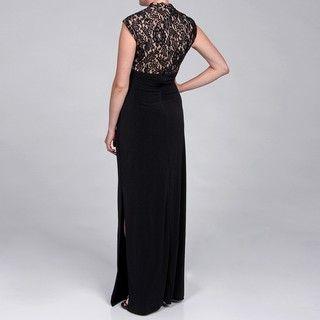 JS Boutique Womens Lace Bodice Long Dress