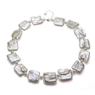 Sterling Silver White Square Baroque and Round Freshwater Pearl