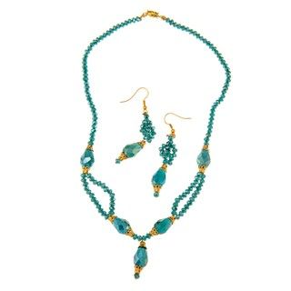 Goldtone Green Crystal Necklace and Earring Set (Pakistan)