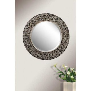 Black and Silver 31.5 inch Round Mirror