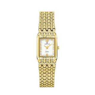 Certus Paris womens rectangular gold tone brass white dial watch