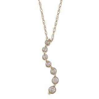 10k Yellow Gold 1/10ct TDW Diamond Journey Necklace (H I, I2