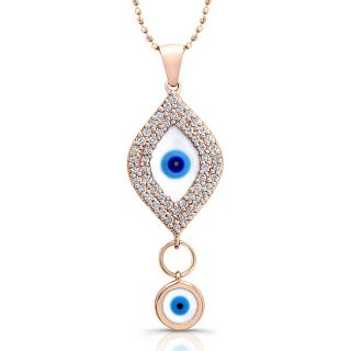 14k Rose Gold 1/3ct TDW Diamond Evil Eye Necklace