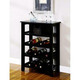 Distressed Black Wine Rack with Basket Drawer