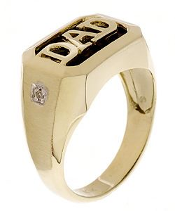 Diamond Black Onyx 10k Gold Dad Ring