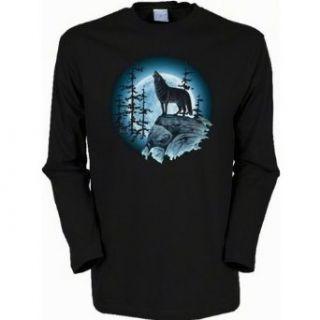 Wolf Mond Indianer USA Motiv Wolfsmond Langarmshirt Herren in schwarz