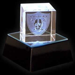 Oakland Raiders Square Crystal Helmet Cube with Base