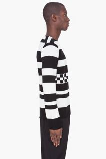 Comme Des Garçons Shirt Black Striped Wool Sweater for men