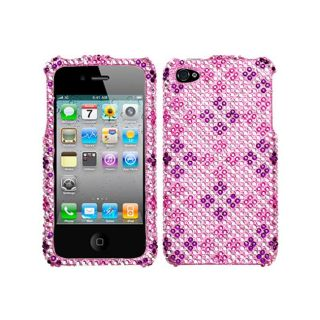 Premium Apple iPhone 4/ 4S Plaid Pink/ Purple Rhinestone Case