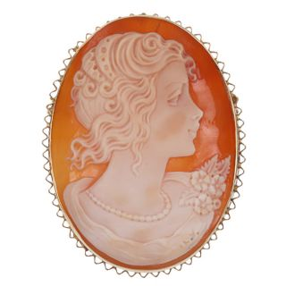 14k Yellow Gold Etrusca Shell Cameo Profile 52 mm Oval Pendant Brooch