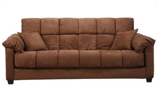 Madras Dark Brown Microfiber Futon Sofa Bed