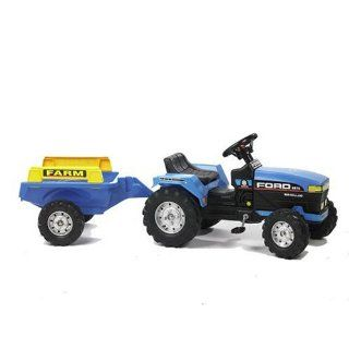 Falk New Holland Traktor mit Anhänger, Tretauto Spielzeug